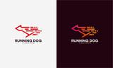 Line art Fast Running Dog, Cheetah, Tiger logo designs vector illustration