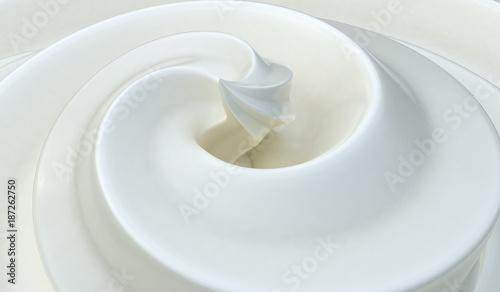 Poster Whipped white cream background. 3D rendered illustration.