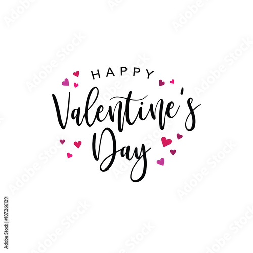Happy Valentines Day Vector Typography With Pink And Red Hearts