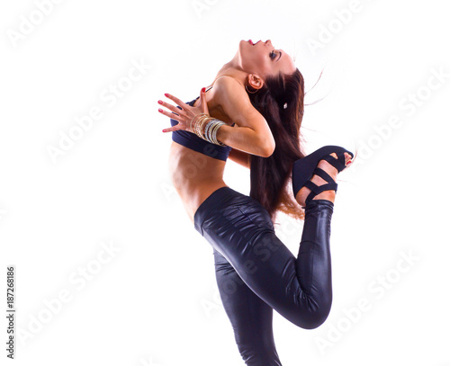 Fotobehang Fitness Stylish and young modern style dancer jumping