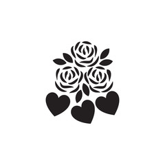 flowers with hearts icon. Valentine's Day elements. Premium quality graphic design icon. Simple love icon for websites, web design, mobile app, info graphics