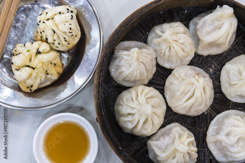 Aluminium Shanghai Traditional Shanghai food including dumpling, wonton and xiaolongbao