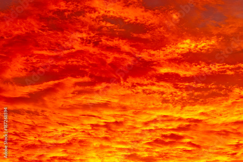 Fiery orange sunset - 187268594