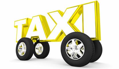 Taxi Hail Ride Share Hiring Car Vehicle 3d Illustration