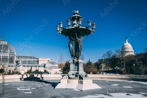empty fountain in the winter