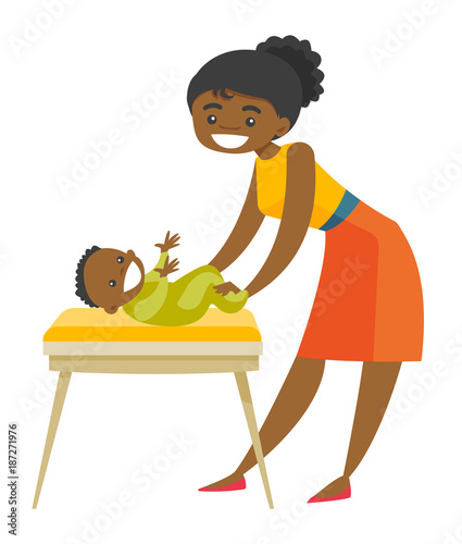 Young african-american mother taking care of smiling newborn baby lying on changing table. Happy mother changing clothing to her infant. Vector cartoon illustration isolated on white background.