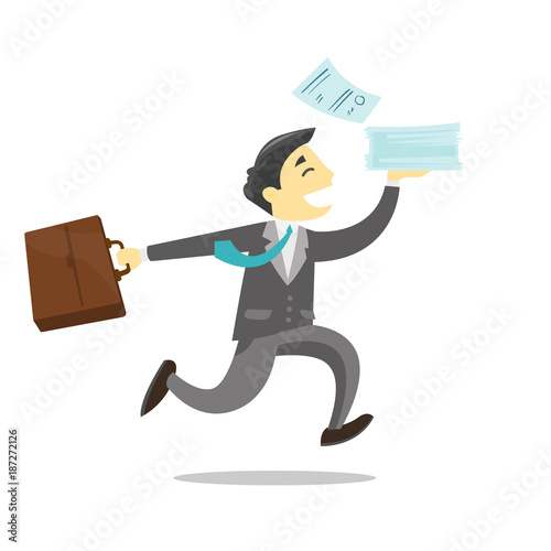Sticker Young caucasian white cheerful successful business worker running with briefcase and documents. Vector cartoon illustration isolated on white background.
