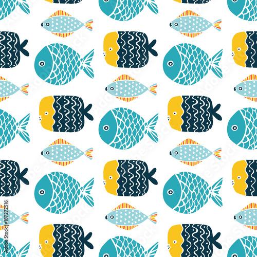 Tapeta Colorful fish cartoon seamless vector pattern