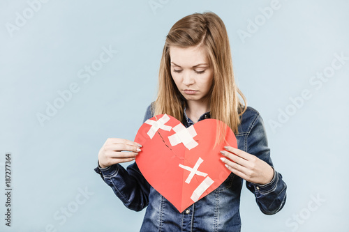 Young woman with broken heart - 187277364