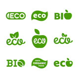 Eco food, organic bio products, eco friendly, vegan icons, ecology - 187279570