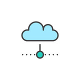 Cloud computing filled outline icon, line vector sign, linear colorful pictogram isolated on white. Symbol, logo illustration. Pixel perfect vector graphics