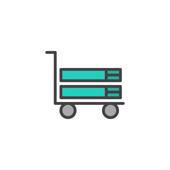Books on trolley cart filled outline icon, line vector sign, linear colorful pictogram isolated on white. Education symbol, logo illustration. Pixel perfect vector graphics