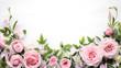 Rose flower with leaves frame - 187281179