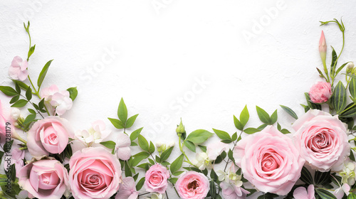 Rose flower with leaves frame