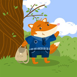 Cute little fox student in school uniform standing under the tree on the lawn with backpack vector illustration, design element for poster or banner