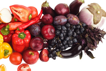 Set of colored fresh raw vegetables and fruits, isolated