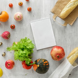 Set of raw food notebook white wooden background. Healthy food - 187290560