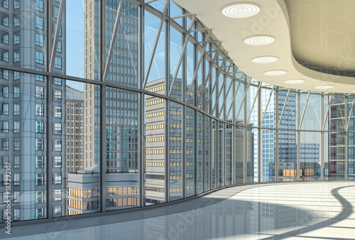Fototapeta Interior of the hall with curved glazed walls and a view of the skyscrapers. 3d illustration.