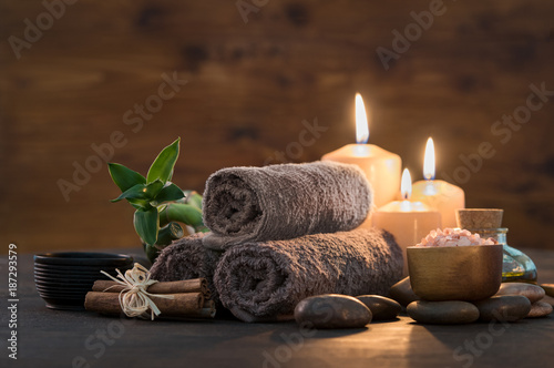 Wall mural Beauty spa treatment with candles
