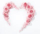 Heart from fresh rose petals.Flat lay