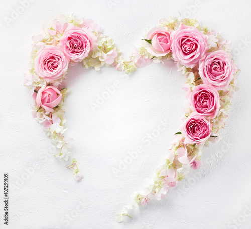 Heart from fresh rose petal.Flat lay