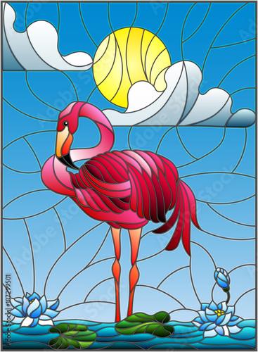 ilustracja-w-stylu-witrazu-z-flamingo-kwiaty-lotosu-i-trzciny-na-staw-w-sloncu-niebo-i-chmury