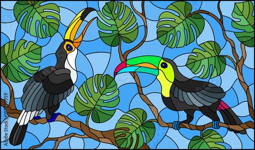 ilustracja-w-stylu-witrazu-para-ptakow-toucan-na-galezi-drzewa-tropikalne-przeciwko-nieba