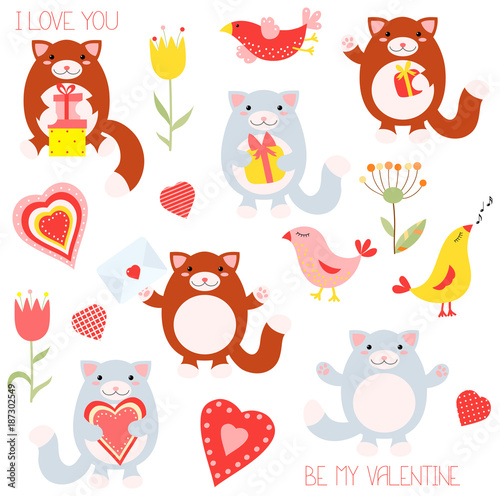 Valentine set with cute cats and birds - 187302549