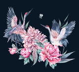 Watercolor nature card with crane and pink peonies - 187303909