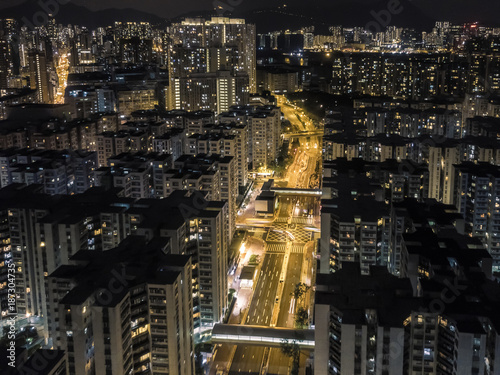 drone view of the city buildings at night