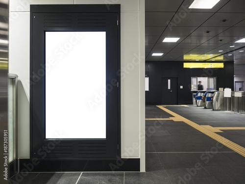 Mock up Blank Banner Frame Media display Public building