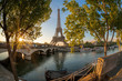 Eiffel Tower during sunrise in Paris, France
