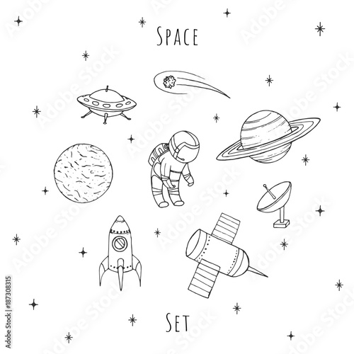 Hand drawn vector space elements: cosmonaut, satelites, rocket, planets, falling star and UFO. Cosmos set isolated on the white background. - 187308315