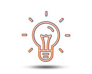 Idea line icon. Light bulb sign. Copywriting symbol. Colourful graphic design. Vector
