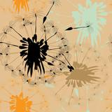 Seamless pattern with dandelions. Vector illustration on light orange backgroound