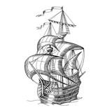 Old caravel, vintage sailboat. Hand drawn sketch. - 187311103