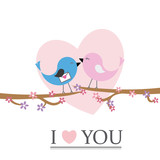 birds in love on a branch. Valentines day card