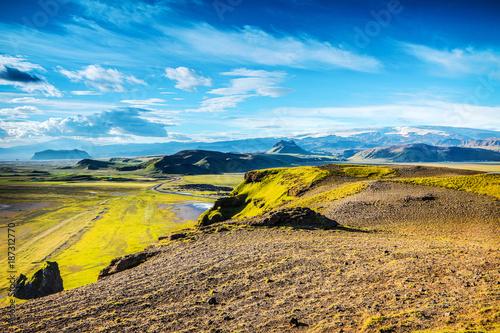 Foto op Aluminium Blauw Beautiful scenic landscape of Icelandic nature.