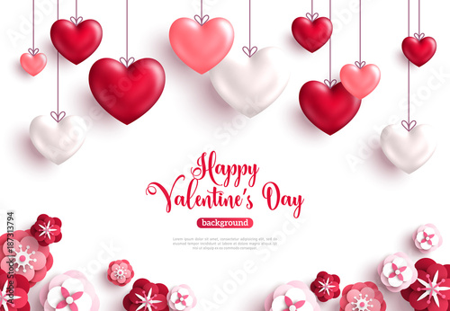 Valentine's day background with paper cut flowers - 187313794