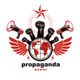 Marketing banner composed with loudspeakers, raised clenched fists and Earth planet, vector illustration. Propaganda as the means of influence on global public opinion. - 187313908