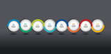 Infographic vector option banner, timeline. Color spheres, balls, bubbles. Infographic template.