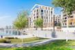 modernes Wohngebiet am Hafen mit Park