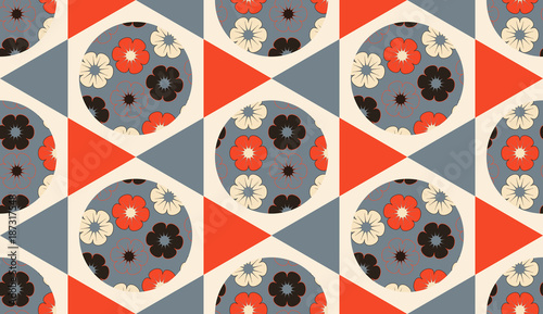 asian seamless hexagons flowers balls seamless orange