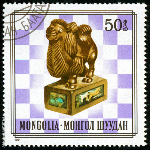 Fotobehang Kameel Ukraine - circa 2018: A postage stamp printed in Mongolia shows drawing Mongolian chess figures Series: Costumes. Circa 1981.