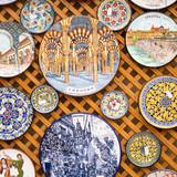 Ceramics plates at local souvenir shop in Cordoba, Andalusia, Spain.