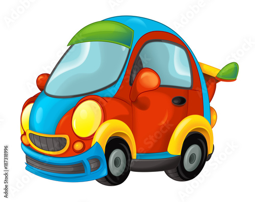 cartoon funny looking sports car - illustration for children - 187318996