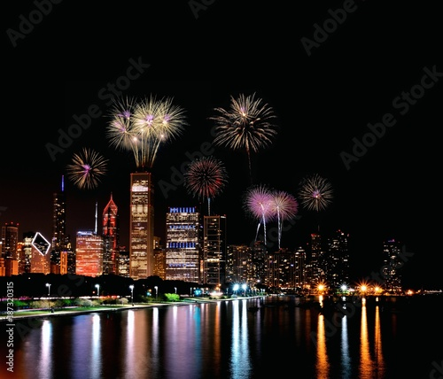 Staande foto Chicago Chicago night skyline with fireworks, Usa.