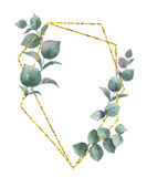 Watercolor vector composition from the branches of eucalyptus and gold geometric frame. - 187321362