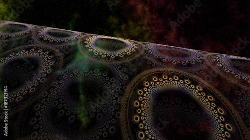 Fotobehang Abstract wave abstrakt fraktal weltraum welle nebel sterne