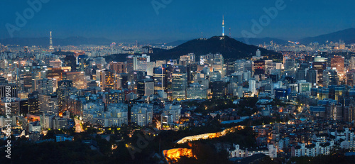 Fotobehang Seoel Panorama of Seoul at Night